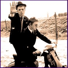 Weller & Talbot larking about on a scooter promoting The Style Council in 1983.