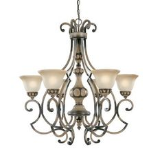 Classic Lighting 92716 HRW 6 Light Westchester Chandelier, Honey Rubbed Walnut