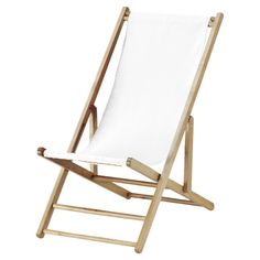Joss & Main Hardwood-framed folding beach chair with a white sling seat.  Product: Beach chairConstruction Material: Hardwoo...