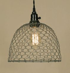 Vintage Rustic Industrial Chicken Wire Dome Pendant Light Lamp Barn Roof Gray on eBay!