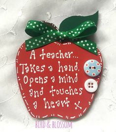Wooden Teacher Apple Magnet End Of Term Gift approximately 10 x hand painted, finished with cute hand tied bow and bright buttons. lovely little gift for a special teacher. Wooden Teacher Apple Magnet End Of Term Gift Teachers Day Gifts, Thank You Teacher Gifts, Presents For Teachers, Teacher Cards, Teacher Appreciation Gifts, Diy Gifts, Handmade Gifts, Handmade Wooden, Apple Gifts