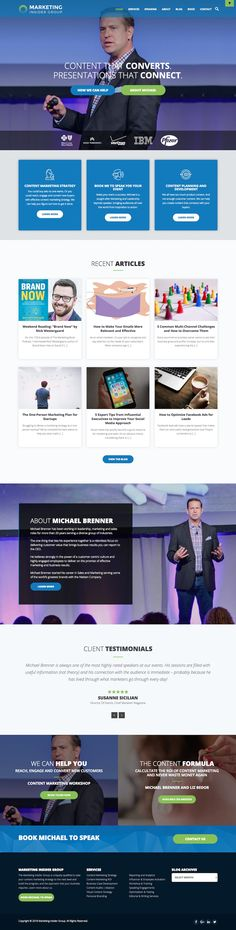Home Page - Content Marketing Strategy and Keynote Speaker - Michael Brenner - Swipefile by Flowji Site Inspiration, Website Layout, Content Marketing Strategy, Keynote Speakers, Landing, Digital, Web Layout, Website Designs