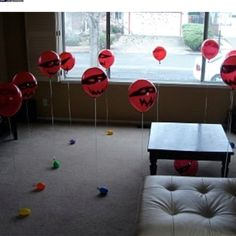 Make balloon ninjas to fight or shoot with nerf gun :) Cannot wait until my nephew is old enough to do this for!