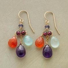 Thoi Vo arranges drops of iolite, garnet, chalcedony, amethyst and carnelian in a jubilant dance of color. 14kt goldfilled.  $129.99 by SundanceCatalog