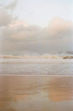 beautiful beach -waves crashing on the horizon, but gently washing up on the sand. (Via lover of all things cozy) Jolie Photo, Aesthetic Wallpapers, Seaside, Surfing, Scenery, Clouds, Places, Nature Photography, Beach Photography