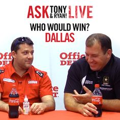 "Have you seen the hilarious segment from our Ask Tony LIVE event in Dallas? Be sure to check it out to see Tony and Ryan play a game of ""Who Would Win?"" http://www.officedepotracing.com/Fan-Zone/Ask-Tony/"