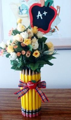 pencil vase - cute teacher gift...could do with a small can and crayons too