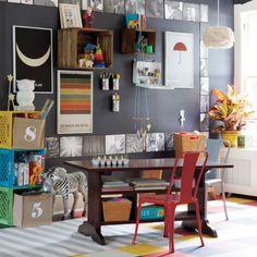 eclectic playroom bonus room playroom office