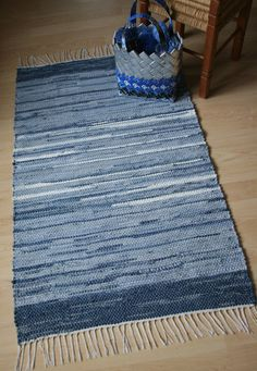 DENIM TAKE TWO -- Hand-woven rug made from recycled blue jeans