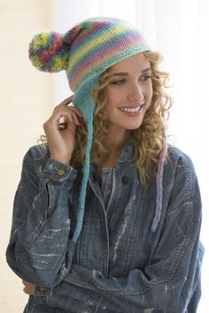 Soft Shades Earflap Hat Free Knitting Pattern in Red Heart Boutique Unforgettable Yarn
