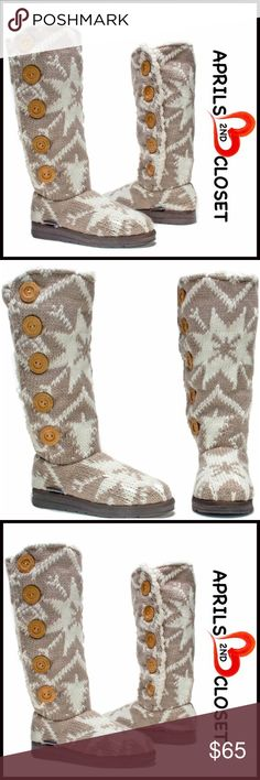 """MUK LUKS BOOTS Faux Shearling Lined 💟NEW WITH TAGS💟  RETAIL PRICE: $80   Tall Crochet Boots Shearling Lined Boot   * Pull On style & shaft button closure detail   * Faux shearing trim & lining   * Round Toe; Allover snowflake nordic print   * Soft & cozy lining and water resistant rubber sole   * 15"""" high shaft & about a 16"""" opening   Fabric: Upper knit fabric & faux shearing lining, TPR sole  Color: Taupe Item:   Search words #B95800  SEARCH # tan beige 🚫No Trades🚫 ✅ Offers Considered*✅…"""