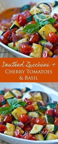 A side dish of crisp zucchini, burst cherry tomatoes and meltingly sweet red onions sautéed in olive oil. If it sounds basic, it is, but it's one of those dishes where the whole is far greater than the sum of its parts. Pair it with grilled salmon and some orzo doused with lemon and olive oil for a light and easy weeknight meal.