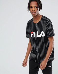 Fila Black Line Baseball T-Shirt With Logo In Black