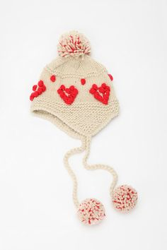 knit heart trapper hat, cooperative
