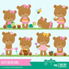 CUTE BEAR GIRL Digital Clipart, Baby Bear Clipart, Teddy Bear Girl , Baptism clipart / Instant Download