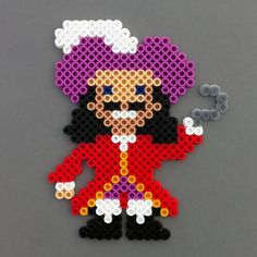captian hook perler bead pattern | Captain Hook Perler Beads Magnet - Peter Pan, pirate, red, purple