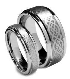 best price Top Value Jewelry - Matching Tungsten Wedding Band Set, His Her Celtic Ring Set, Titanium Color, Step High Polish Edge, Men (size Women (size - Half Sizes Available cheap price anniversary rings buy now with latest deals offer price Celtic Wedding Bands, Wedding Bands For Him, Tungsten Wedding Bands, Wedding Ring Bands, Tungsten Rings, Matching Wedding Band Sets, Celtic Rings, Celtic Knot, Bridal Ring Sets