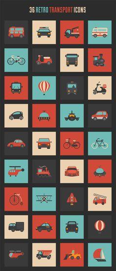 Freebie: Retro transport icon set - Design daily news