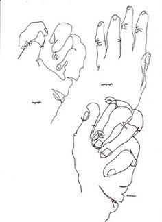 Blind Contour Drawings  Materials: Paper Marker Tape Create a series of blind contour drawings of you hand using pen. Set up your paper so that you can not see what you are drawing.  This will...