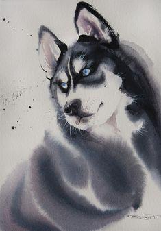 snow dog 30*21 cm watercolor on paper @Olga Flerova SOLD