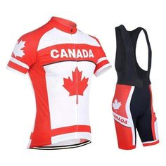 The cycling jersey from this Canada Flag Maple Leaf Pro Cycling Kit is made  from high 0754a61f3