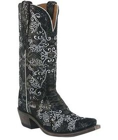Lucchese M4717 Womens 11 B Black & Silver Python Print Boots NO RESERVE