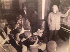 """#ThrowbackFacts: Albert Einstein teaching a physics class at Lincoln University (HBCU in Pennsylvania) in 1946. The Nobel prize winning scientist said: """"The separation of the races is not a disease of colored people. It is a disease of white people. I do not intend to be quiet about it."""""""