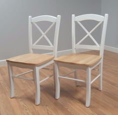 Simple Living Country Cottage Dining Chair Set Of Two Natural and White Finish #SimpleLiving