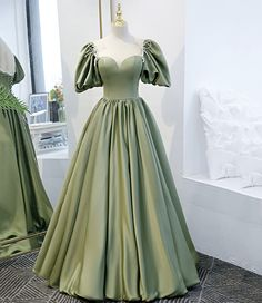 Gala Dresses, A Line Prom Dresses, Formal Dresses, Affordable Prom Dresses, Senior Prom Dresses, Prom Dresses With Sleeves, Green Evening Dress, Green Dress, Evening Dresses