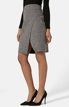 Free shipping and returns on Topshop Neppy Wrap Skirt at Nordstrom.com. Soft white flecks lend neppy texture to a high-waisted skirt featuring an asymmetrical wrap front finished with a notched hemline.