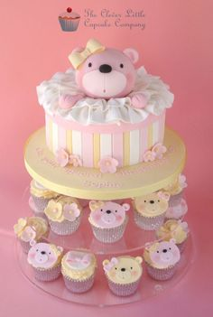 Bear christening cake with matching cupcakes