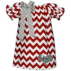 Elephant Crimson Chevron Peasant Dress