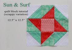 Sun and Surf scrappy quilt block tutorial via A Bright Corner