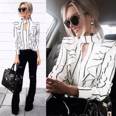 Ideas Dress Black And White Fashion Classy For 2019 White Dress Outfit, Blouse Outfit, Dress Outfits, Fashion Outfits, Dress Fashion, Dress Black, Fashion Clothes, Fashion Ideas, Classy Dress