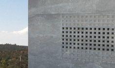 High Desert Eathworks Builders: LavaCrete lattice design in exterior wall