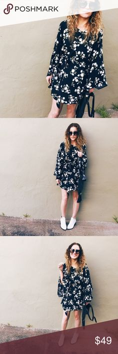 Floral Kimono Dress Perfect for spring; my favorite kind of moody floral. Black background, white flowers, kimono sleeves and a tie waist. Looks fab with booties! Add a fringe bag for a boho vibe. Boutique Dresses Mini