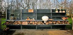 Outdoor Küche-Beton Anthrazit-Utensilien Abstellraum Holz-Material