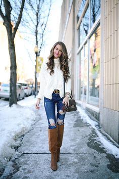 cable knit turtleneck (only $23) // Gucci belt , dupe here Zara jeans, similar here // Sam Edelman boots (on sale!!)...