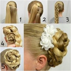 Double Braided Bun With Beautiful Flower Accessories