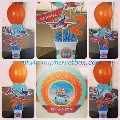 Disney Planes Centerpieces www.myshowerbox.com Disney Planes Party, Disney Planes Birthday, 2 Birthday, 3rd Birthday Parties, Nerf Party, Airplane Party, Batman Party, Party Themes, Kids Part