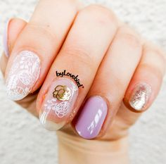 Easy lilac nail art byLovebird.  #nailart #nails #notd #lilac #nailinspiration #stamping #stampingnailart #springnails #lilacnails #naildesign #nailswag #nailartwow #rose #roses