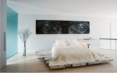 Common Popular Bedroom Accessories: Beauteous Master Bedroom Design With Modern Bedroom Accessories Using Large Modern Eye Picture Also Contemporary Large Floor Vases And Rustic Wood Bed Frame With White Cool Duvet Covers As Bedroom Decorating Tips ~ surrealcoding.com bedroom Inspiration