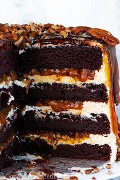 Just Desserts, Delicious Desserts, Dessert Recipes, Yummy Food, Chocolate Turtles, Chocolate Cake, Chocolate Belga, Layer Cake Recipes, Cake Fillings