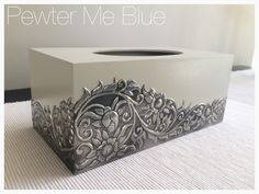 Tissue box by Yvonne at Pewter Me Blue www.fb.com/pewtermeblue Pewter Art, Pewter Metal, Copper Metal, Aluminum Foil Crafts, Aluminum Cans, Tin Can Art, Tin Art, Tin Can Crafts, Metal Crafts