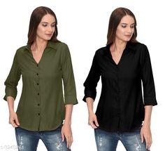 Shirts Glamorous Contemporary Women's Polyester Solid Women's Shirts(Pack Of 2) Fabric: Polyester   Sleeves: 3/4 Sleeves Are Included Size: S - 36 in M - 38 in L - 40 in XL - 42 in Length: Up To 28 in Type: Stitched Description: It Has 2 Pieces Of Women's Shirts Pattern: Solid Country of Origin: India Sizes Available: S, M, L, XL   Catalog Rating: ★4 (283)  Catalog Name: Glamorous Contemporary Women's Polyester Solid Women's Shirts Combo CatalogID_446772 C79-SC1022 Code: 405-3240261-1131