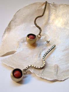 bronze earings with patina and coral