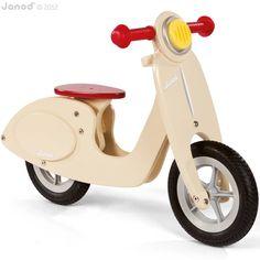 Houten loopfiets Vespa vanille Janod | #Speelgoed Kiki