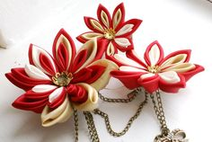 Red Fascinator - Kanzashi Fascinator in Red and Gold - Flower Fascinator Kanzashi Tutorial, Red Fascinator, Headpiece, Gold Flowers, Fabric Flowers, Shibori, Baby Bows, Arts And Crafts, Hair Accessories