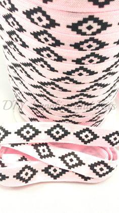 5/8 Light pink black Aztec printed fold over elastic, FOE headband elastic for making diy hair ties, foldover elastic by the yard - pinned by pin4etsy.com