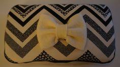 Black and cream chevron diaper wipe case with decorative bow. $15.00, via Etsy.